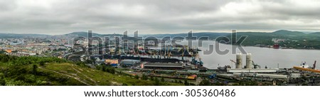 Panoramic view of Murmansk city - main port of Northern Russia near Kola bay in the Arctic region  - stock photo