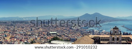 Panoramic view of Naples - stock photo