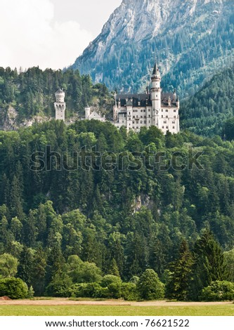 Panoramic view of Neuschwanstein Castle and hill, Germany. - stock photo