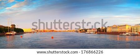Panoramic view of Neva river in summer. Saint Petersburg, Russia - stock photo