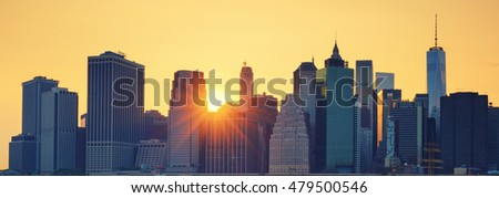 Panoramic view of New York City Manhattan midtown at sunset, special photographic processing