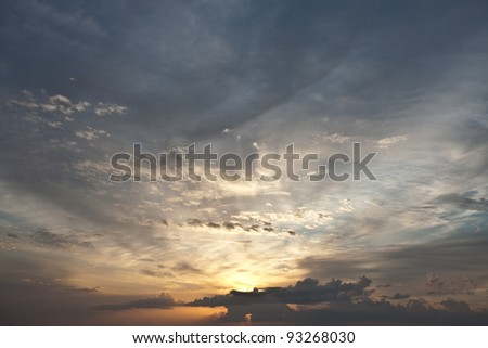 panoramic view of nice color sky during sunset - stock photo