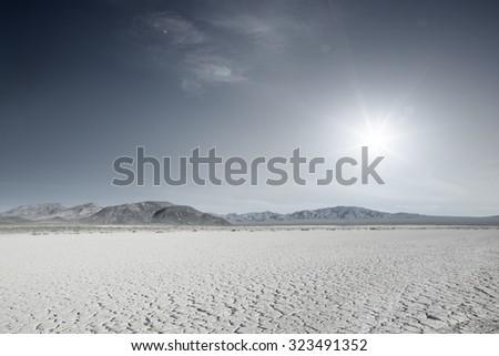 panoramic view of nice hot Nevada  desert daytime - stock photo