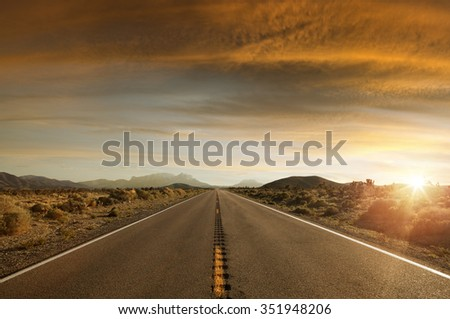 panoramic  view of nice summer empty road  on sunset  - stock photo