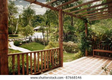 panoramic view of nice summer terrace in tropic environment - stock photo