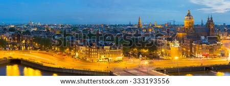 Panoramic view of night Amsterdam - stock photo