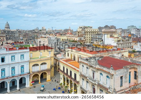 Panoramic view of Old Havana on a beautiful clear day - stock photo