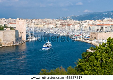 Panoramic view of Old Port of Marseille, France - stock photo