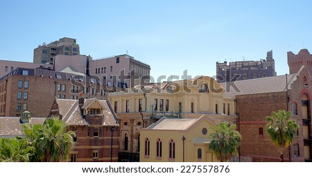 Panoramic view of old Sydney near downtown harbour and the Rocks - stock photo
