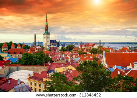 Panoramic view of Old Tallinn city at sunset, Estonia   - stock photo
