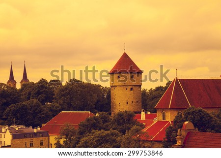 Panoramic view of Old Tallinn city at sunset light, Estonia - stock photo