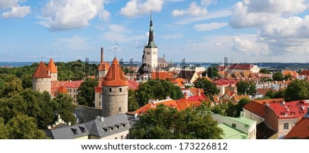Panoramic view of Old Tallinn Lower town in summer. Estonia. - stock photo