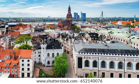 Panoramic view of old town in city Riga,Latvia. Captured from above with a drone.