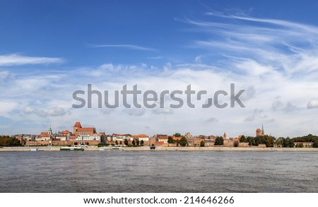 Panoramic view of old town in Torun on Vistula bank, Poland.