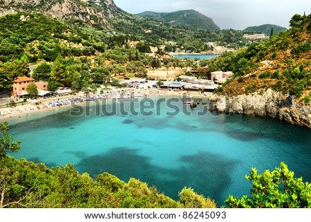 Panoramic view of Paleokastritsa bay.Corfu
