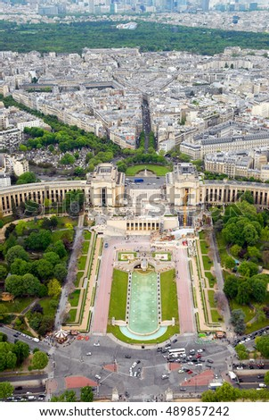 Panoramic view of Paris from the Eiffel Tower level. France.