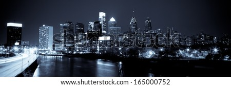 Panoramic view of Philadelphia Skyline  by night - stock photo