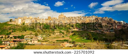 panoramic view of Piazza Armerina - an Italian comune in the province of Enna, Sicily - stock photo