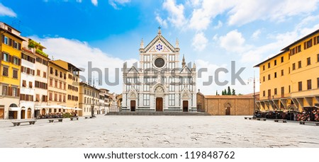 Panoramic view of Piazza Santa Croce with famous Basilica di Santa Croce in Florence, Tuscany, Italy - stock photo