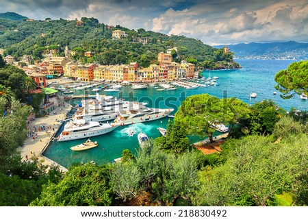 Panoramic view of Portofino luxury harbour,Ligurian Coast,Italy,Europe - stock photo