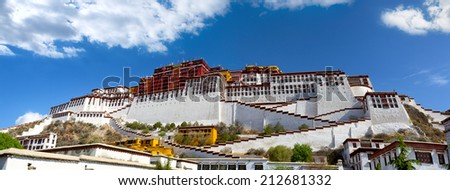 Panoramic view of Potala Palace in Lhasa, Tibet - stock photo