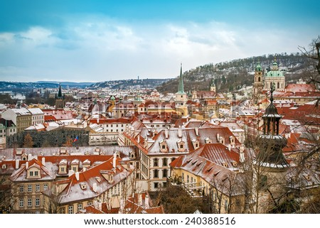 Panoramic view of Prague from Prague castle (Hradcany) on a winter day, Czech Republic - stock photo