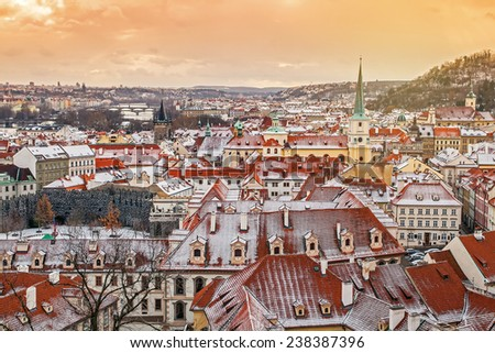 Panoramic view of Prague from the Prague Castle on sunset in winter, Czech Republic - stock photo