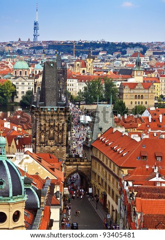 Panoramic view of Prague with Charles bridge in the center - stock photo