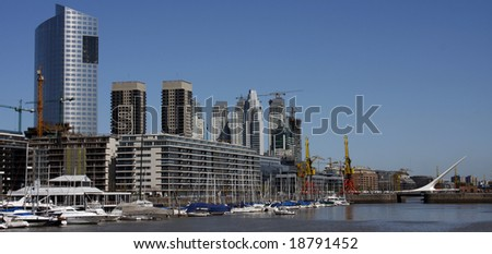 Panoramic view of Puerto madero, Buenos Aires, Argentina. - stock photo