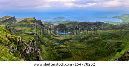 Panoramic view of Quiraing coastline in Scottish highlands, United Kingdom - stock photo