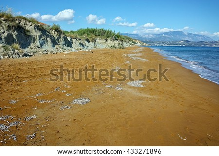 Panoramic view of Red sands of xsi beach, Kefalonia, Ionian Islands, Greece - stock photo