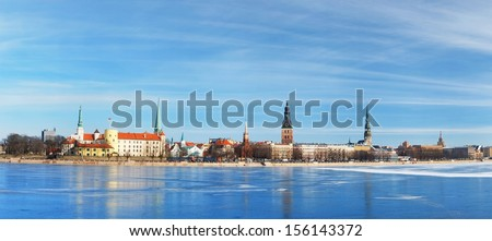 Panoramic view of Riga in winter - stock photo
