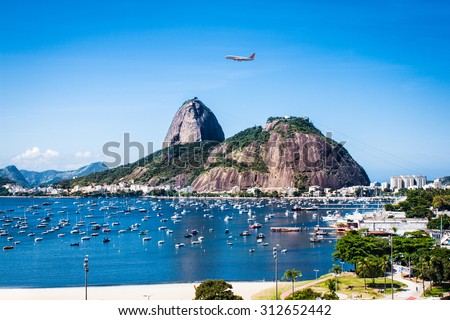 Panoramic view of Rio De Janeiro and Sugar Loaf, Brazil . - stock photo