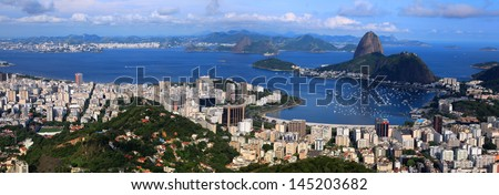 Panoramic view of Rio De Janeiro, Brazil landscape - stock photo