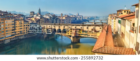 Panoramic view of river Arno. Florence. Tuscany. Italy. - stock photo