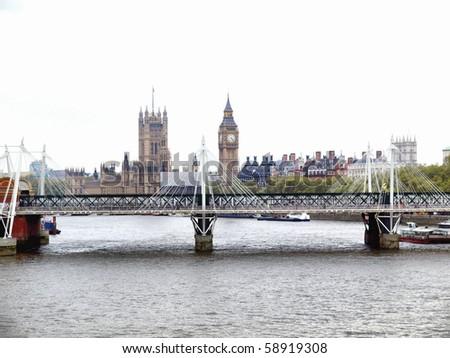 Panoramic view of River Thames, London, UK - high dynamic range HDR - stock photo