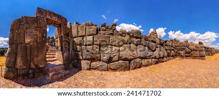 Panoramic view of Sacsayhuaman fortress in Cusco, Peru. - stock photo