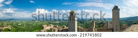 Panoramic View of San Gimignano, Italy - stock photo