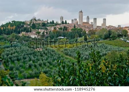 Panoramic view of San Gimignano, Tuscany, Italy - stock photo