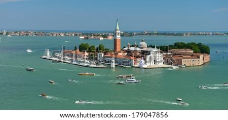 Panoramic view of San Giorgio island, Venice, Italy - stock photo