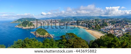 Panoramic view of San Sebastian in the Basque Country, Spain - stock photo