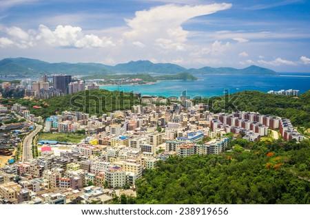 Panoramic view of Sanya city and Dadonghai bay from Luhuitou Park.  - stock photo