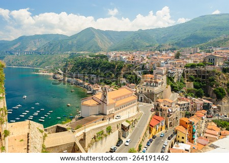 Panoramic view of Scilla seen from The Ruffo Castle, Calabria, Italy. - stock photo