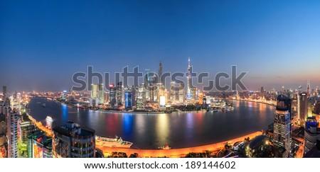 panoramic view of shanghai and the beautiful night scene  - stock photo