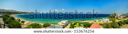 Panoramic view of Sicily and Strait of Messina seen from Calabria - stock photo