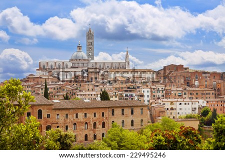 Panoramic view of Sienna city, Italy - stock photo