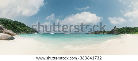 Panoramic view of Similan island, Thailand. View from the white sand beach. Concept about travel and nature - stock photo