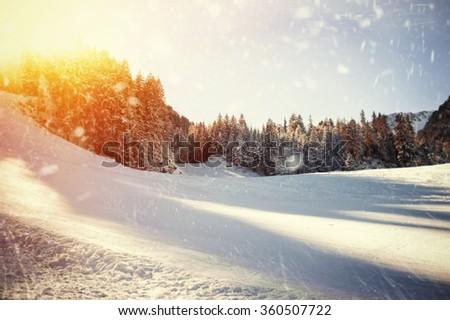 Panoramic view of ski resort. natural winter background - stock photo