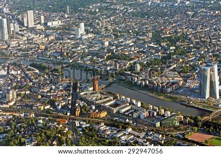 Panoramic view of Skyline Frankfurt, Germany from the plane - stock photo