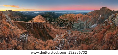 Panoramic view of Slovakia mountain at autumn - Low Tatras - Dumbier - stock photo